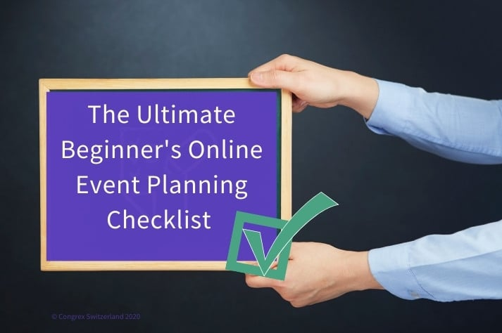 hans holding a tablet reading online event planning checklist