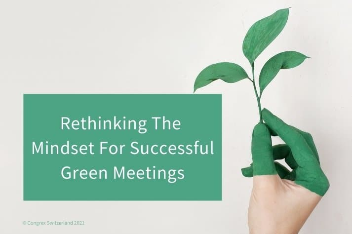 green meetings blog title image showing a hand painted green holding a seedling
